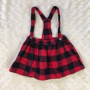 Carter's Buffalo Plaid Suspender Skirt Red Black